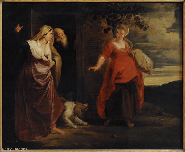 Akár egy mai Dior couture ruha is lehetne Hágár alsószoknyát kapott piros kismama ruhája. A Hágár elhagyja Ábrahám otthonát című festményt Rubens festette 1615 és 1617 között.