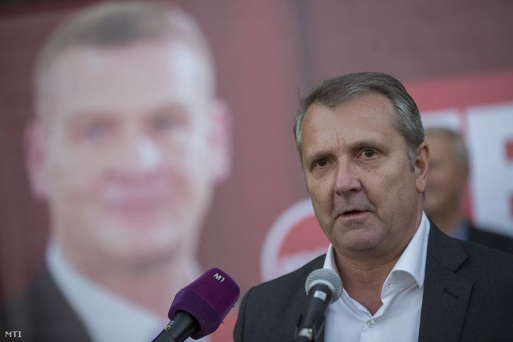 Molnár Gyula a háttérben Botka László plakátjával