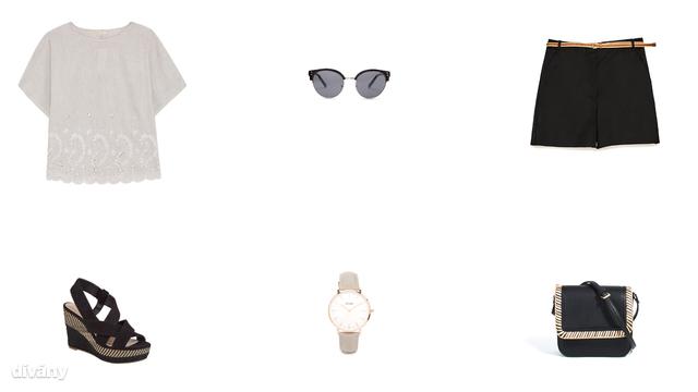 Blúz - 8995 Ft (Oysho), napszemüveg - 5595 Ft (Mango), rövidnadrág - 6995 Ft (Zara), szandál - 7490 Ft (F&F), óra - 79 font (Asos), táska - 6995 Ft (Parfois)