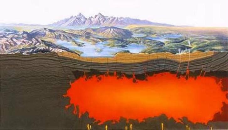 A park alatti vulkán ábrázolása