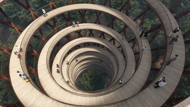 Spirál alakú ösvényen lehet bejárni egy dán erdő lombkoronáit