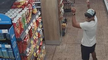 Örömében tapsikoló tolvajt videóztak le egy áruházban