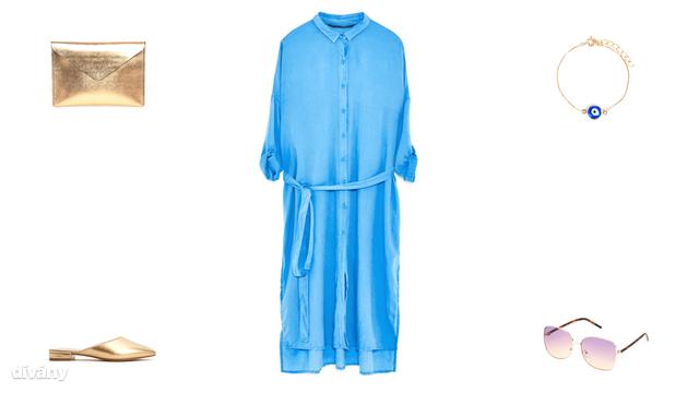 Táska - 45 font (Asos), ruha - 9995 Ft (Zara), karkötő - 1695 Ft (Parfois), papucs - 4995 Ft (Mango), napszemüveg - 1995 Ft (Reserved)