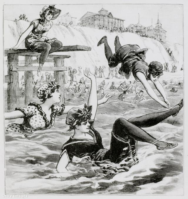 Ez az illusztráció New Jerseyben úszkáló nőket ábrázol 1892-ben.