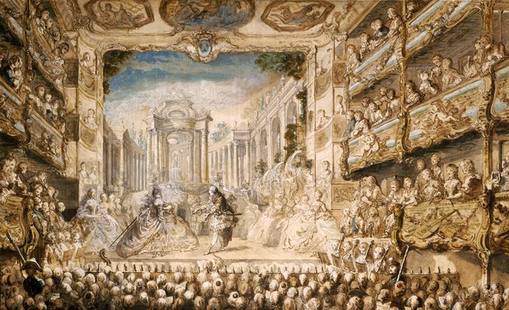 Lully Armide című operájának bemutatója a Palais-Royalban, 1761-ben. Gabriel de Saint-Aubin munkája. Bostoni Szépművészeti Múzeum.