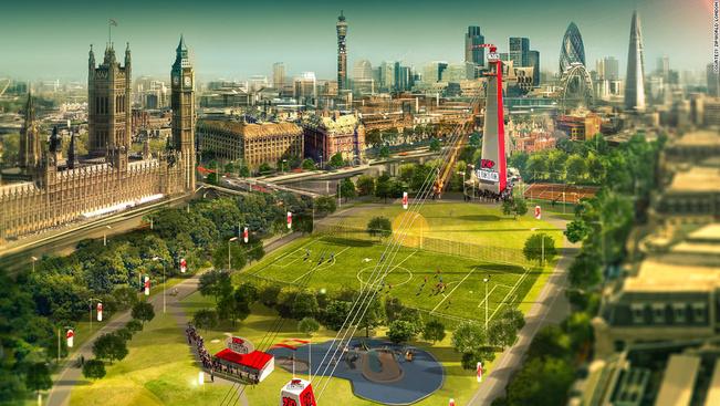 A világ legnagyobb városi lecsúszópályája Londonban készül