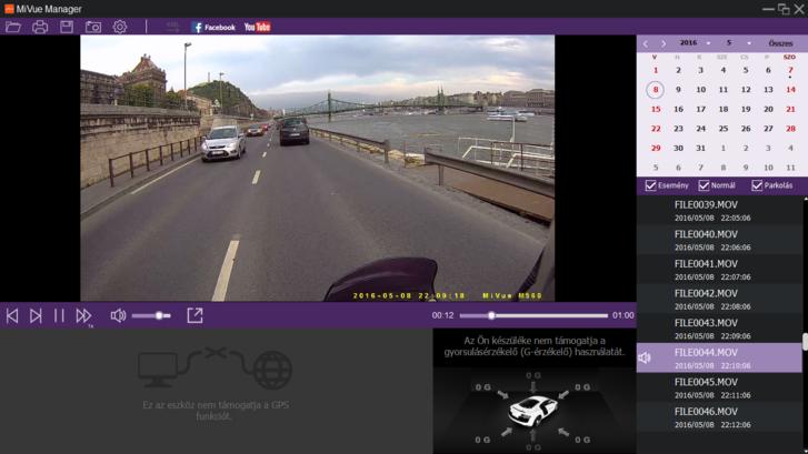 A Mio szoftvere így néz ki: a GPS-funkciók és a gyorsulásmérés itt nem működnek, hiszen nincsenek szenzorok és GPS-vevő a kamerában