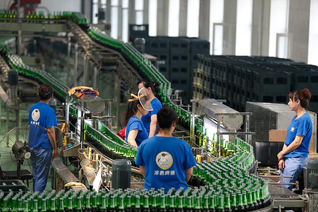 Gyártósor a Jinzhu Manjiang sörüzemben