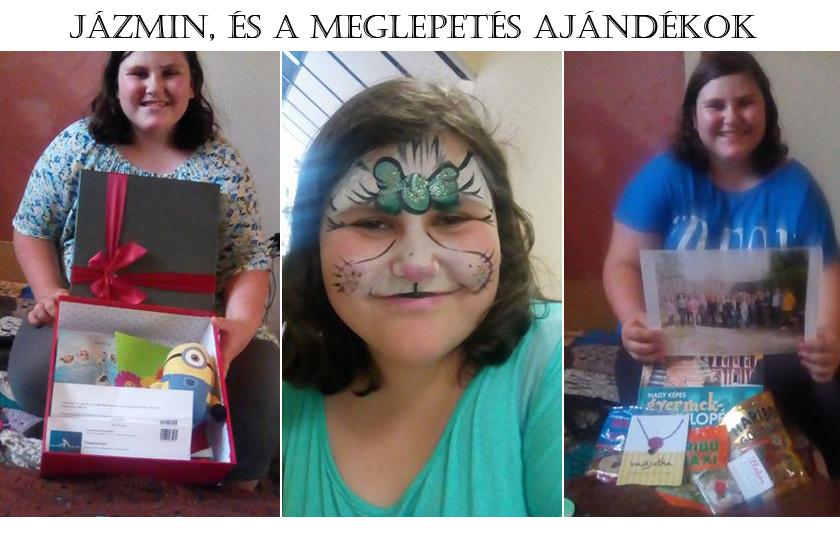A jobb és bal oldali képen Jázmin az ajándékokkal, középen pedig arcfestés után, boldogan
