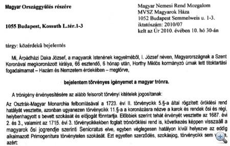 Árpádházi Daka József törvényes igénye a trónra (klikk a nagyításhoz!)