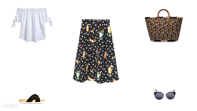 Felső - 3990 Ft (H&M), papucs - 5995 Ft (Zara), szoknya - 9995 Ft (Mango), táska - 9995 Ft (Oysho), napszemüveg - 2995 Ft (Pull&Bear)