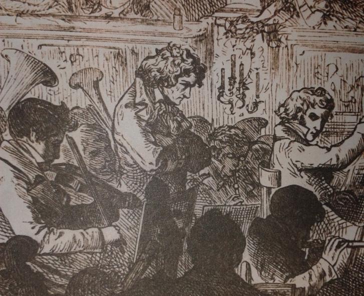 Beethoven a Kilencedik előadása közben egy korabeli rajzon