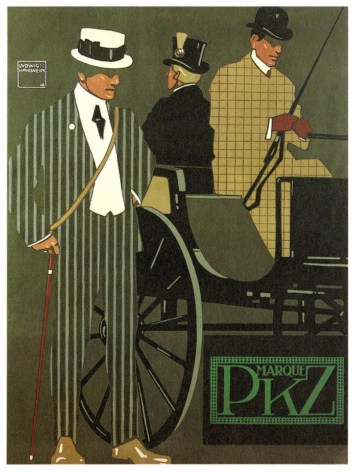 Marque PKZ (egy ma is létező ruházati márka) - 1908 - Ludwig Hohlwein (német tervező grafikus, 1874-1949)