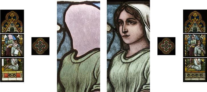 A festett, ólmozott üvegablak esetében a restaurálás mellett a rekonstrukció is szükséges volt. A két fő alak arcának jelentős része hiányzott.