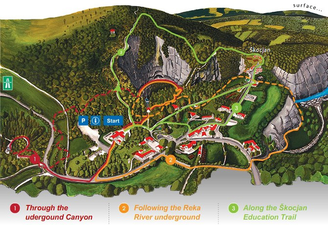 A Skocjan barlangrendszer átnézeti képe, rajta a potenciális túraútvonalakkal