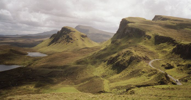 A Quiraing vidéke a Trotternish-félszigeten, Skye északnyugati részén