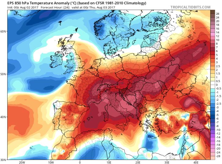 Európa augusztus 2-i hőtérképe