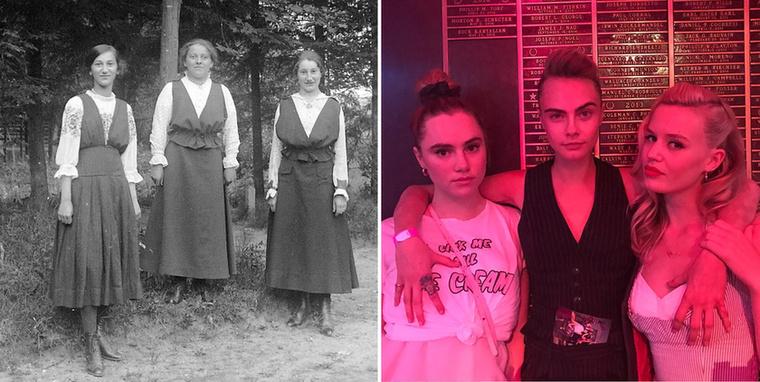 Némileg közvetlenebb a baráti viszony 2017-ben Cara Delevingne fotóján, mint csaknem 100 évvel ezelőtt, 1918-ban.