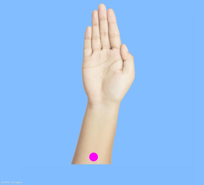 Az első pont az alkaron van. Négy ujjnyival a csukló alatt kell megnyomni a jelölt területet hüvelykujjal, tízig számolni, majd néhányszor ismételni.