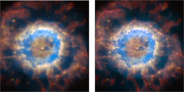 Az NGC 6369 planetáris köd, a bal oldali képen adaptív optikás korrekció nélkül, a jobb oldalin pedig a korrekcióval. Jól látható, hogy az AOF hatására sokkal finomabb és halványabb szerkezeti elemek is előtűnnek