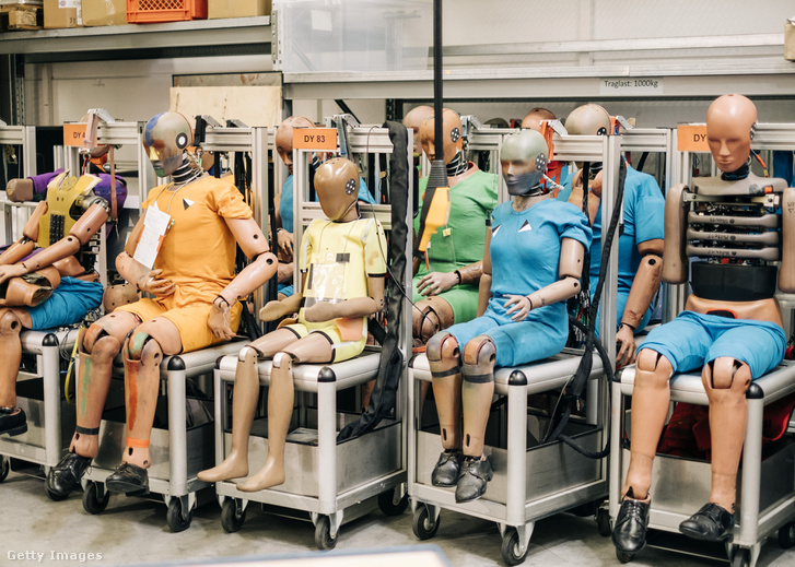 Crash test dummies sit inside the Magna International Inc. Advanced Car Technology Systems safety facility in Sailauf Germany.