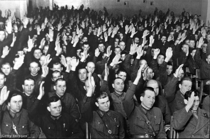 Koncepciós per vádlottjai Moszkvában 1938-ban.