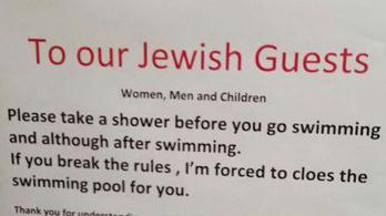 Svájci hotel: A zsidók fürödjenek le, mielőtt a medencébe mennek