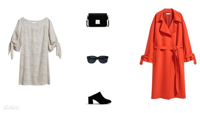 Ruha - 5990 Ft (H&M), táska - 8995 Ft (Zara), napszemüveg - 2995 Ft (Reserved), papucs - 19995 Ft (Mango), ballonkabát - 17990 Ft (H&M)