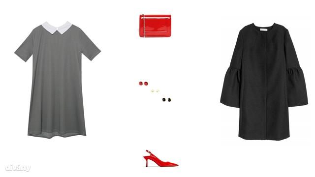 Ruha - 5995 Ft (Pull&Bear), táska - 16,99 font (Asos), fülbevaló - 9,95 euró (Promod), cipő - 9995 Ft (Zara) , kabát - 17995 Ft (H&M)