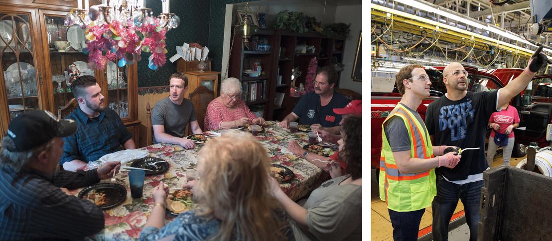 Mark Zuckerberg pár hónappal ezelőtt az ohioi Dan és Lisa Moore-nál vacsorázott, előtte pedig Detroitban a Ford egyik gyárát látogatta meg.