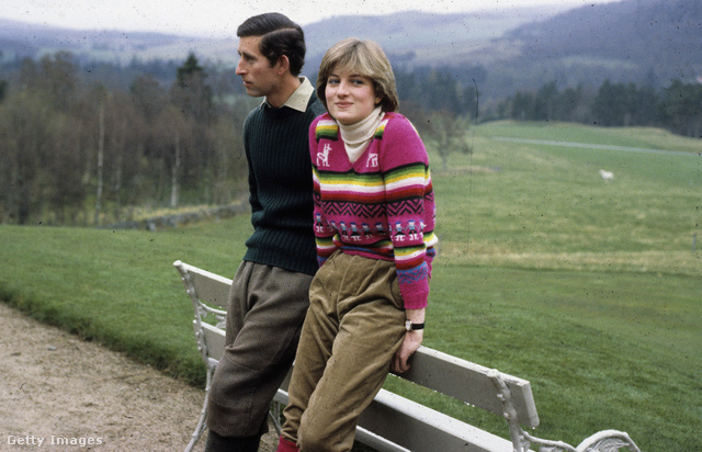 BALMORAL SCOTLAND - 06 May 1981:  Lady Diana Spencer wearing an Inca jersey spends time with her fiance Prince Charles Prince of Wales at Balmoral before their July 29 1981 wedding.  (
