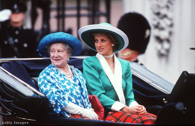 :In memory of Diana Princess of Wales who was killed in an automobile accident in Paris France on August 31 1997.                         Caption:LONDON - 11 June 1988:  The Queen Mother and Princess Diana Princess of Wales at Trooping of the Colour in 1988.  (