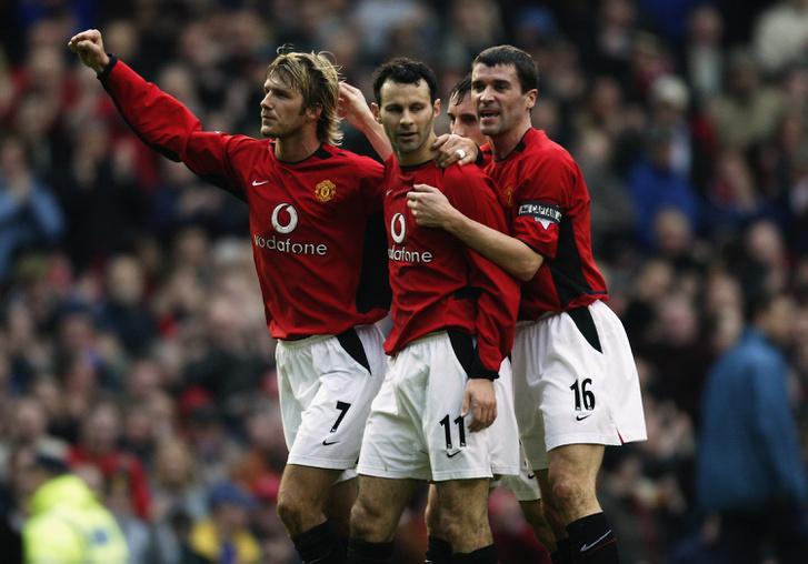 Beckham, Giggs és Keane a ManUnitedben, 2003 elején