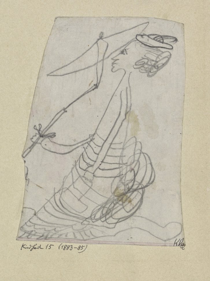 Hölgy napernyővel (1883-1885) a 4-6 éves Paul Klee ceruzarajza, Zentrum Paul Klee, Bern.