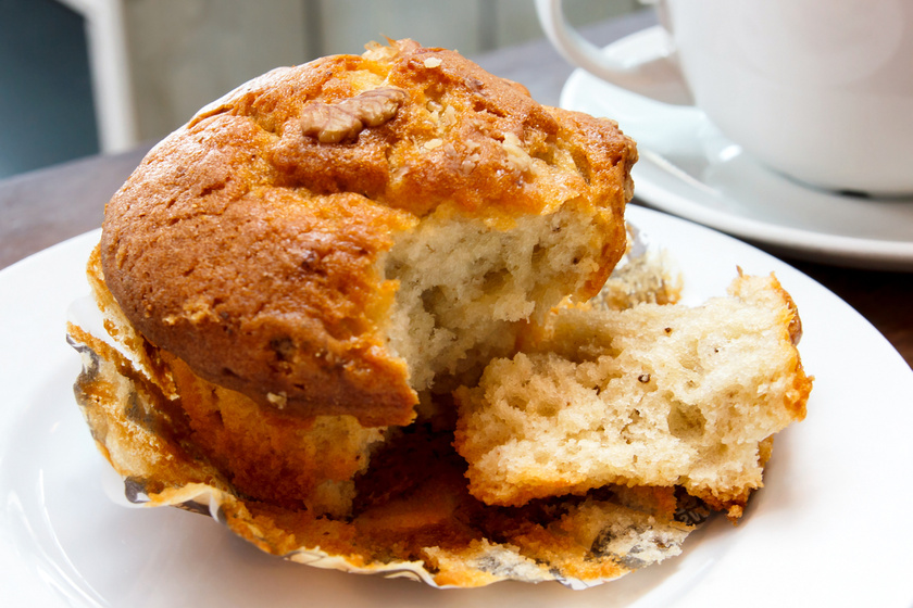 30 perces, puha diós muffin, amiből egy tepsi mindig kevés