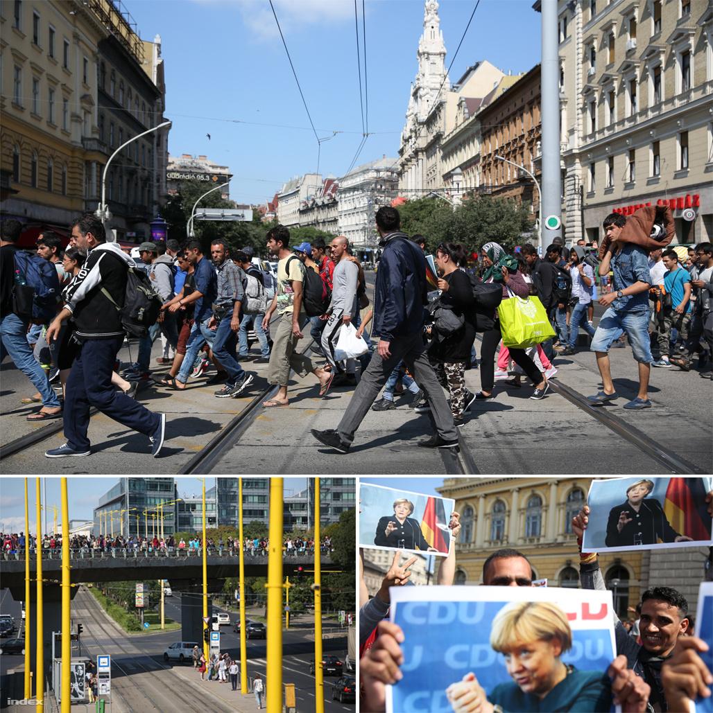 """2015. szeptember 4-én a Keleti pályaudvarról több ezer menekült indult gyalogosan útnak Németországba. Angela Merkel a határnyitás után nyilatkozta: """"az emberek sorsát tartottam szem előtt, de összességében tisztában voltam a (menekültügyi) helyzettel""""."""