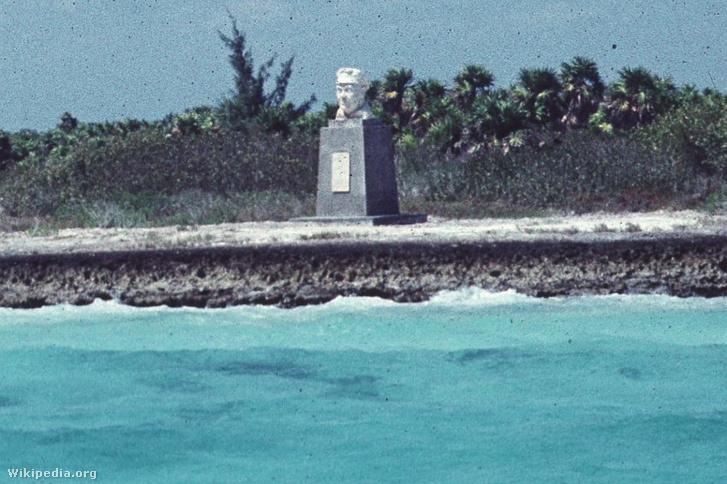 Ernst Thälmann szobra a szigeten.