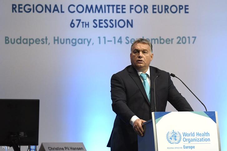 Orbán Viktor miniszterelnök beszédet mond az Egészségügyi Világszervezet Európai Regionális Bizottságának 67. ülésén a Budapesti Kongresszusi Központban 2017. szeptember 11-én.