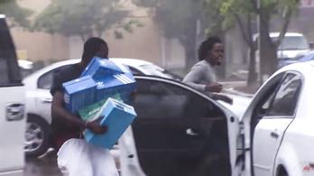 A fosztogatók úgy gondolták, hurrikán közben a legjobb cipőért menni a boltba