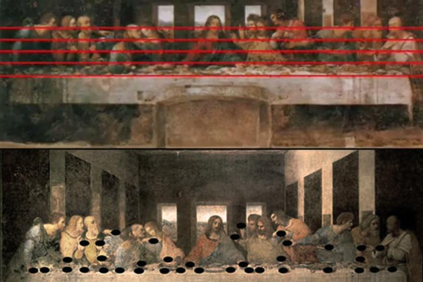 Pala húzott öt vízszintes vonalat, és a vonalakhoz eső, azokon így elhelyezkedő kenyereket és kezeket hangjegyekként értelmezte.