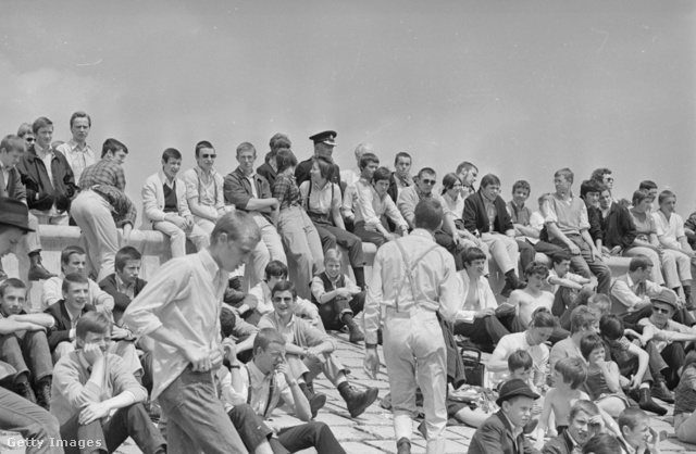 Szkinhedek egy találkozón Southend-on-Sea tengerpartján 1970-ben.