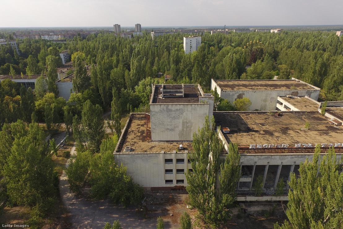 Elhagyatott városrész a kiürített zónában, amit már visszahódított a természet.