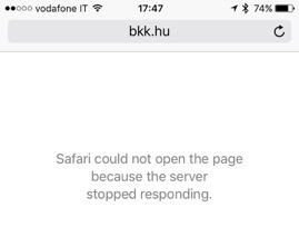 Nem elérhető az oldal - Olvasónk fotója