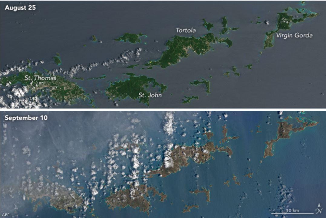 A vihar pusztítása az űrből is látható: az Irma  útjába eső szigetek zöld színe a műholdas fotókon barnára váltott. A változásnak a NASA szerint két oke lehet: egyrészt a vihar teljesen letarolta a növényzetet, és láthatóvá vált a barna talaj, másrészt a szél által szállított só letapad a megmaradt növényzeten, tovább színezve a képet.