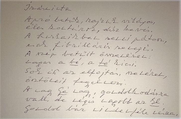 Lator László kézirata a 24 karát kötetben megjelenő Írásminta című vershez
