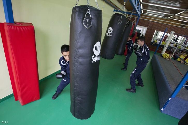 Fiatalok edzenek a Botos András Ökölvívó Akadémián Nagykanizsán 2014. március 7-én