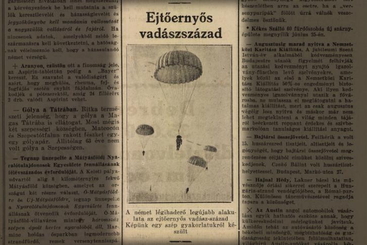 Az ejtőernyősök hamar feltűntek a sajtóban is. 8 Órai Újság, 1938. június 26.