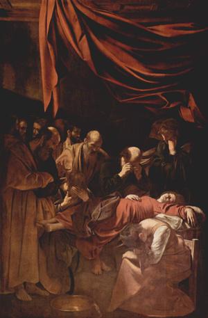 Caravaggio ezzel, a Mária halála (1606) című képpel okozta a legnagyobb botrányt. Nem elég, hogy Krisztus anyjának halálát minden pátosz nélkül ábrázolta, a modellnek felkért nő Róma egyik legismertebb prostituáltja volt.