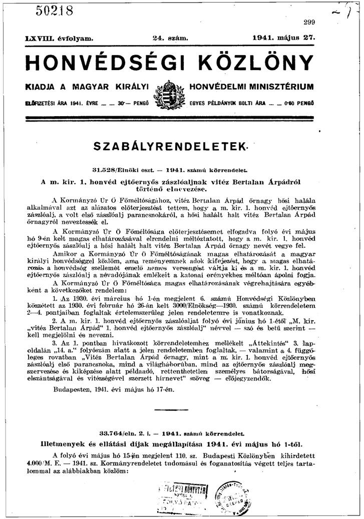 Honvédségi Közlöny 1941. május 27.