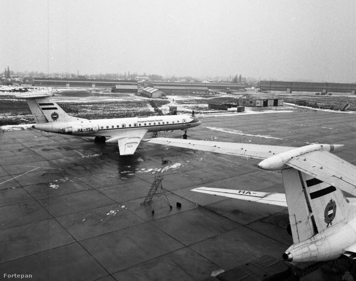 TU-134-es kormánygépek a Ferihegyi repülőtéren, 1979-ben.